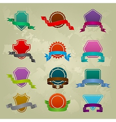 Collection of different ribbon icons vector image vector image