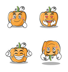 collection set pumpkin character cartoon style vector image