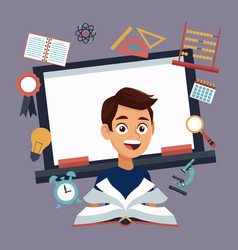 color background with chalk board and boy student vector image vector image