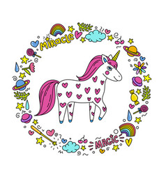 Cute handdrawn unicorn unicorn and magic stuff vector