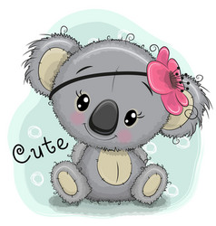 Cute koala girl on a blue background vector