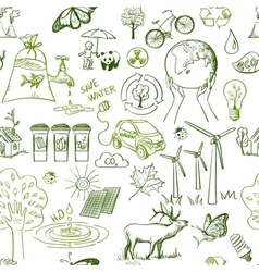 Ecology signs and icons seamless pattern vector image