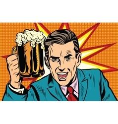 Emotional vintage man with beer vector image
