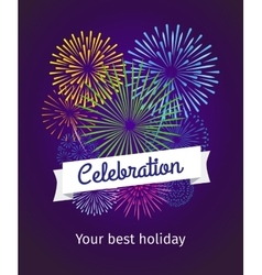 Fireworks celebration card template vector image