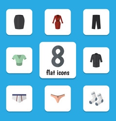 flat icon garment set of casual foot textile vector image vector image