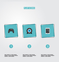 flat icons controller palmtop web cam and other vector image