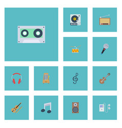 flat icons quaver karaoke audio box and other vector image