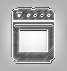 Gas stove sign pencil sketch imitation vector