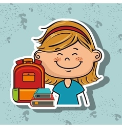 girl student bag color book vector image