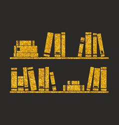 Golden books on the shelf on black background vector