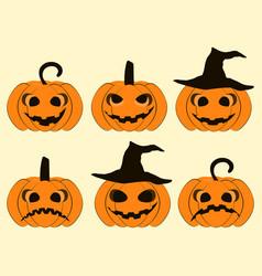 halloween pumpkin set isolated on white vector image