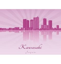 Kawasaki skyline in purple radiant orchid vector