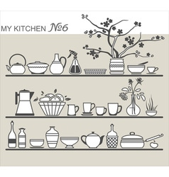 Kitchen utensils on shelves 6 vector image