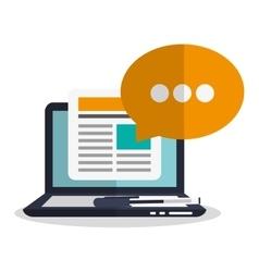 Laptop bubble and blog design vector