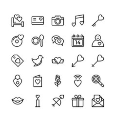 Love and valentine line icons 3 vector