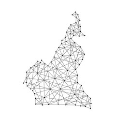 Map of cameroon from polygonal black lines and dot vector