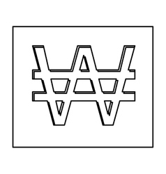monochrome contour with currency symbol of south vector image vector image