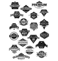 Quality black and white retro labels vector image