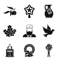 Ritual icons set simple style vector