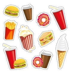 Set of colorful cartoon fast food icons on white vector