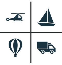 Shipment icons set collection of chopper yacht vector