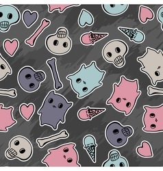 Skulls and hearts on black background - seamless vector image