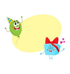 smiling birthday party characters - floating vector image vector image