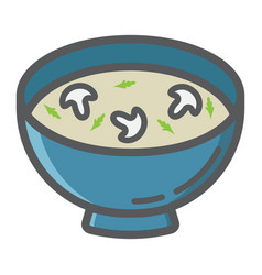 soup filled outline icon food and drink vector image vector image