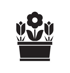 Spring flower pot icon vector