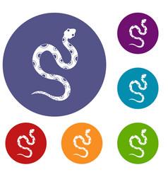 Venomous snake icons set vector
