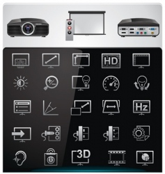 video projector features icons vector image vector image