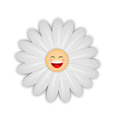 white daisy flower with happy face vector image