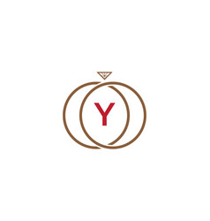 y letter ring diamond logo vector image