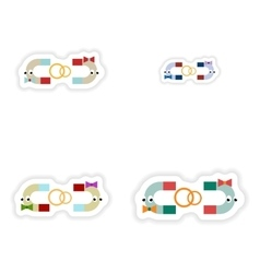 Set of paper stickers on white background romantic vector image