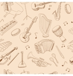 Hand drawn music seamless background pattern vector image