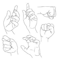 Hands set outline part 5 fico claw fist plea vector