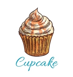 Chocolate cupcake with cream and caramel sketch vector