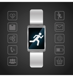 Smart watch wearable technology portable dark vector