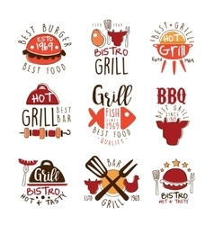 Best Grill Bar Promo Signs Series Of Colorful vector image