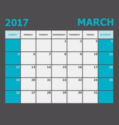 March 2017 calendar week starts on sunday vector