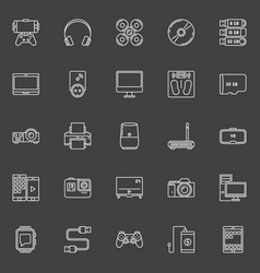 electronic gadgets outline icons vector image