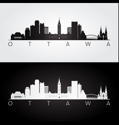 Ottawa skyline and landmarks silhouette vector