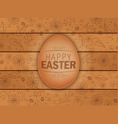 Easter brown egg on wooden background vector