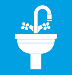 Ceramic sink icon white vector