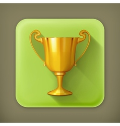 Gold trophy flat icon vector
