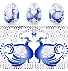 Easter egg with a pattern of stylized gzhel blue vector