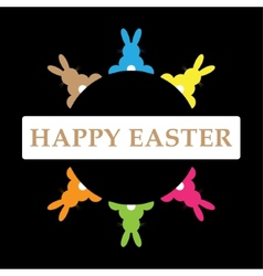 Six easter bunnies in different colors with text vector
