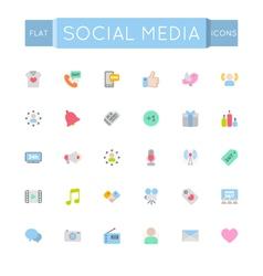 Flat Social Media Icons vector image