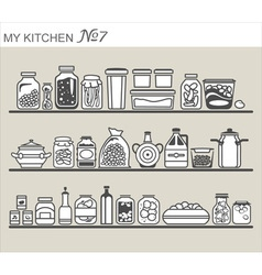 Kitchen utensils on shelves 7 vector