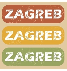 Vintage zagreb stamp set vector